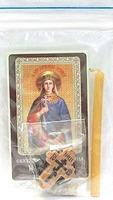 Параскева Пятница. Святая великомученица. Набор для домашней молитвы (Zip-Lock). Лик, молитва, свечка, ладан, крестик