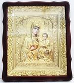 Иверская Б.М.. Храмовая икона в фигурном киоте, в ризе, с багетом, 38 Х 44