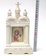 Казанская Б.М., керамика, икона большая купола, крест, цвет перламутр (СА).