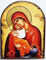 Богородица, Сладкое Лобзание, икона под старину JERUSALEM, арка (13 Х 17)