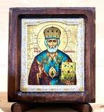 Николай Чудотворец, Икона Византикос, полуоклад, 8Х6