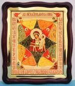 Неопалимая Купина Б.М., в фигурном киоте, с багетом. Большая аналойная икона (28 Х 32)