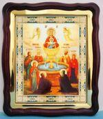Живоносный источник Б.М., в фигурном киоте, с багетом. Большая аналойная икона (28 Х 32)