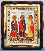 Самон, Гурий, Авив, в фигурном киоте, с багетом. Храмовая икона (43 Х 50)