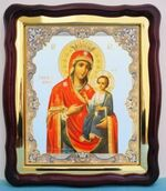 Иверская Б.М., в фигурном киоте, с багетом. Большая аналойная икона (28 Х 32)