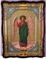 Ангел Хранитель (рост), в фигурном киоте, с багетом. Храмовая икона (60 Х 80)