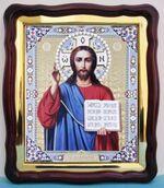 Спаситель (17), в фигурном киоте, с багетом. Храмовая икона (43 Х 50)