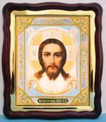 Спаситель (7), в фигурном киоте, с багетом. Большая аналойная икона (28 Х 32)