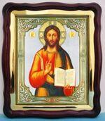 Господь Вседержитель, в фигурном киоте, с багетом. Храмовая икона (43 Х 50)