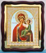 Отрада и Утешение Б.М., в фигурном киоте, с багетом. Большая аналойная икона (28 Х 32)