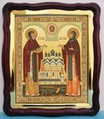 Петр и Феврония, в фигурном киоте, с багетом. Большая аналойная икона (28 Х 32)