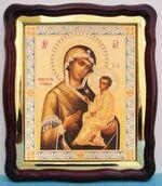 Тихвинская Б.М., в фигурном киоте, с багетом. Большая аналойная икона (28 Х 32)
