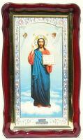 Спаситель (рост), в фигурном киоте, с багетом. Храмовая икона (35 Х 60)
