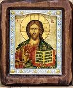 Спаситель, Икона Византикос, полуоклад, 9Х10