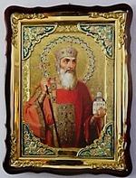 Святой Равноапостольный князь Владимир, в фигурном киоте, с багетом. Храмовая икона (60 Х 80)