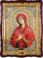 Умягчение злых сердец Б.М., в фигурном киоте, с багетом. Храмовая икона (60 Х 80)