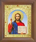 Спаситель. Икона в деревянной рамке с окладом (Д-25псо-20)