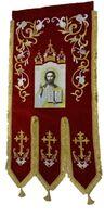 Хоругвь текстиль, бархат, двух-сторонняя вышивка, бордовая. Спаситель + Крест