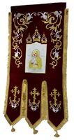 Хоругвь текстиль, бархат, двух-сторонняя вышивка, бордовая. Почаевская Б.М. + Крест