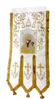 Хоругвь текстиль, бархат, двух-сторонняя вышивка, белая. Казанская Б.М. + Николай Чудотворец