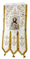 Хоругвь текстиль, бархат, двух-сторонняя вышивка, белая. Спаситель + Троица