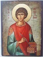 Пантелеймон, икона под старину JERUSALEM прямая (11 Х 15)