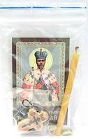 Николай II. Святой страстотерпец царь. Набор для домашней молитвы (Zip-Lock). Лик, молитва, свечка, ладан, крестик