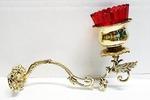 Кронштейн литой малый с подлампадником, латунь, под золото (ЗЛ)