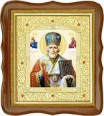 Николай Чудотворец, средняя аналойная икона, фигурный киот (Д-20фс-27)