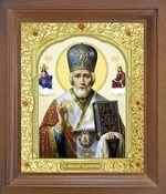 Николай Чудотворец. Икона в деревянной рамке с окладом (Д-25псо-27)