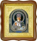 Николай Чудотворец, средняя аналойная икона, фигурный киот (Д-17фс-28)