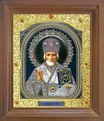 Николай Чудотворец. Икона в деревянной рамке с окладом (Д-25псо-28)