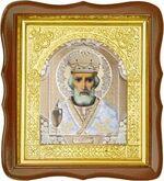Николай Чудотворец, средняя аналойная икона, фигурный киот (Д-17фс-29)