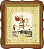 Георгий, убивающий змея, средняя аналойная икона, фигурный киот (Д-20фс-32)