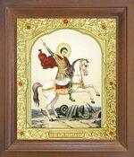 Георгий, убивающий змея. Икона в деревянной рамке с окладом (Д-25псо-32)