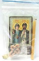 Борис и Глеб. Набор для домашней молитвы (Zip-Lock). Лик, молитва, свечка, ладан, крестик
