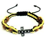 Браслет (146) плетеный желтый с черным, с крестом