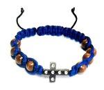Браслет (149) плетеный синий, с крестом