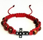 Браслет (151) плетеный красный, с крестом