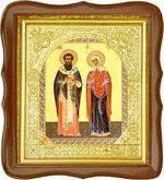 Киприан и Устинья, средняя аналойная икона, фигурный киот (Д-17фс-35)