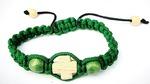 Браслет (164) плетеный, с дер. вставками, крест, цвет зелёный