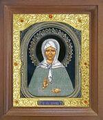 Матрона Московская. Икона в деревянной рамке с окладом (Д-26псо-38)