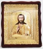Спаситель. Храмовая икона в фигурном киоте, в ризе, с багетом, 38 Х 44