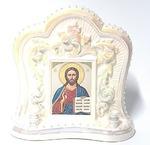 Спаситель, керамика, икона большая, цвет перламутр (СА).