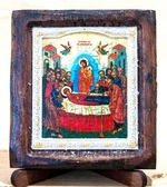 Успение Пресвятой Богородицы, Икона Византикос, полуоклад, 8Х6