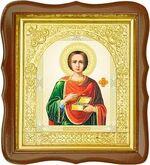 Пантелеймон, средняя аналойная икона, фигурный киот (Д-17фс-47)