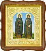 Петр и Феврония, средняя аналойная икона, фигурный киот (Д-17фс-49)