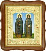 Петр и Феврония, средняя аналойная икона, фигурный киот (Д-20фс-49)