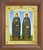Петр и Феврония. Икона в деревянной рамке с окладом (Д-26псо-49)