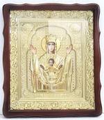 Неупиваемая Чаша Б.М.. Храмовая икона в фигурном киоте, в ризе, с багетом, 38 Х 44
